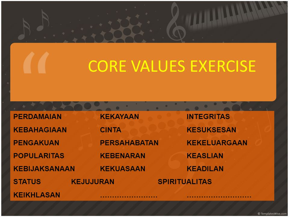 CORE VALUES EXERCISE PERDAMAIAN KEKAYAAN INTEGRITAS