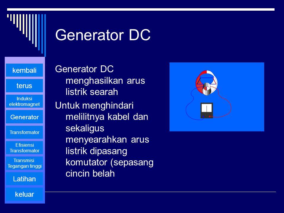 Generator DC Generator DC menghasilkan arus listrik searah