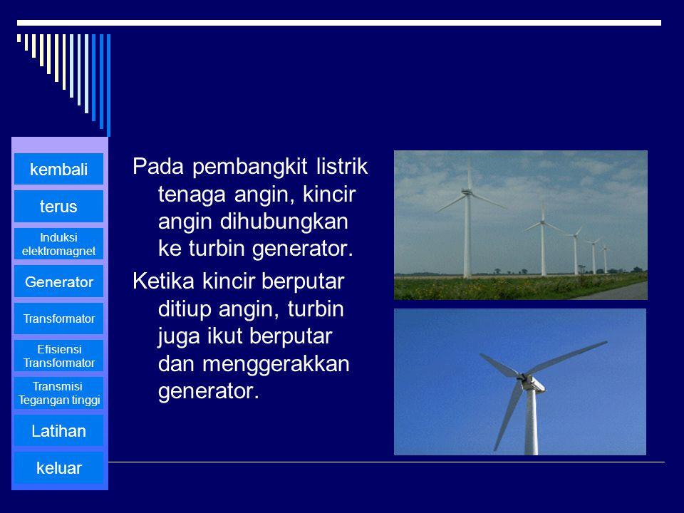Pada pembangkit listrik tenaga angin, kincir angin dihubungkan ke turbin generator.