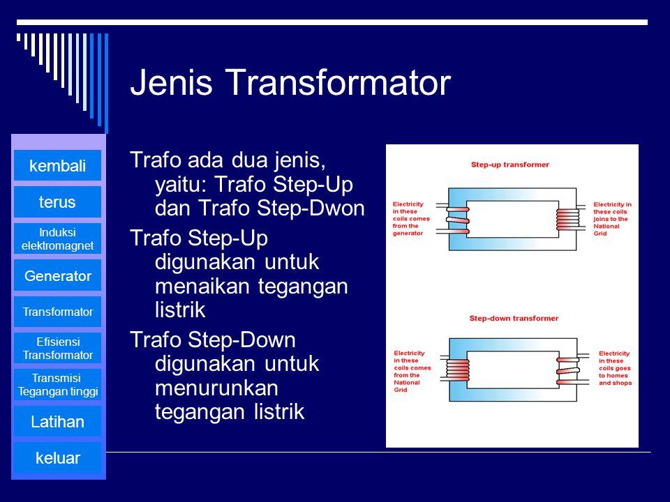 Jenis Transformator Trafo ada dua jenis, yaitu: Trafo Step-Up dan Trafo Step-Dwon. Trafo Step-Up digunakan untuk menaikan tegangan listrik.