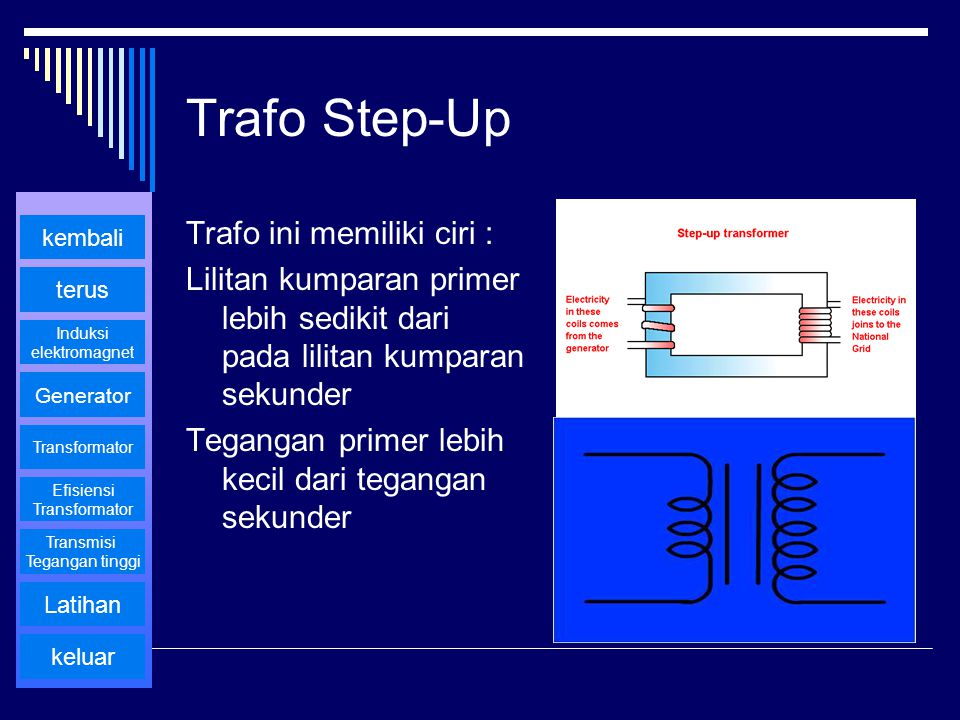 Trafo Step-Up Trafo ini memiliki ciri :