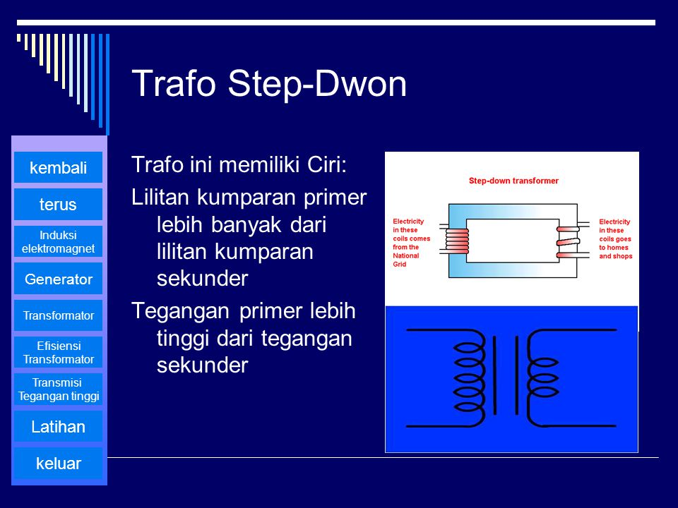 Trafo Step-Dwon Trafo ini memiliki Ciri: