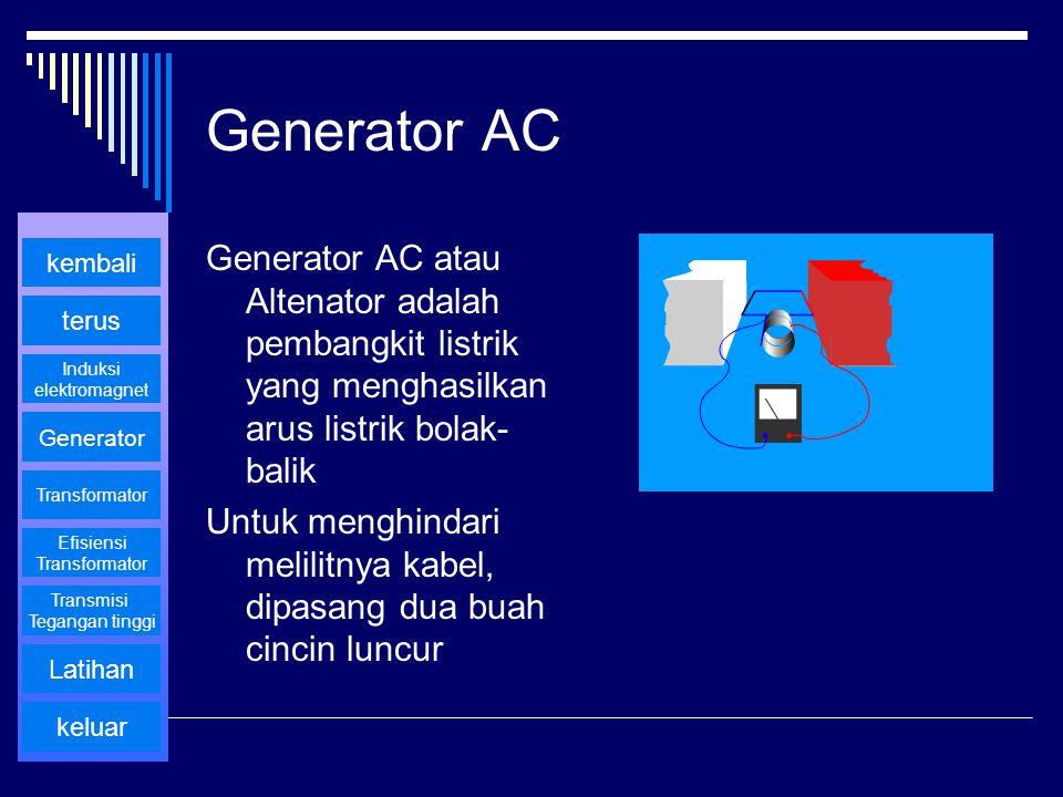 Generator AC Generator AC atau Altenator adalah pembangkit listrik yang menghasilkan arus listrik bolak-balik.