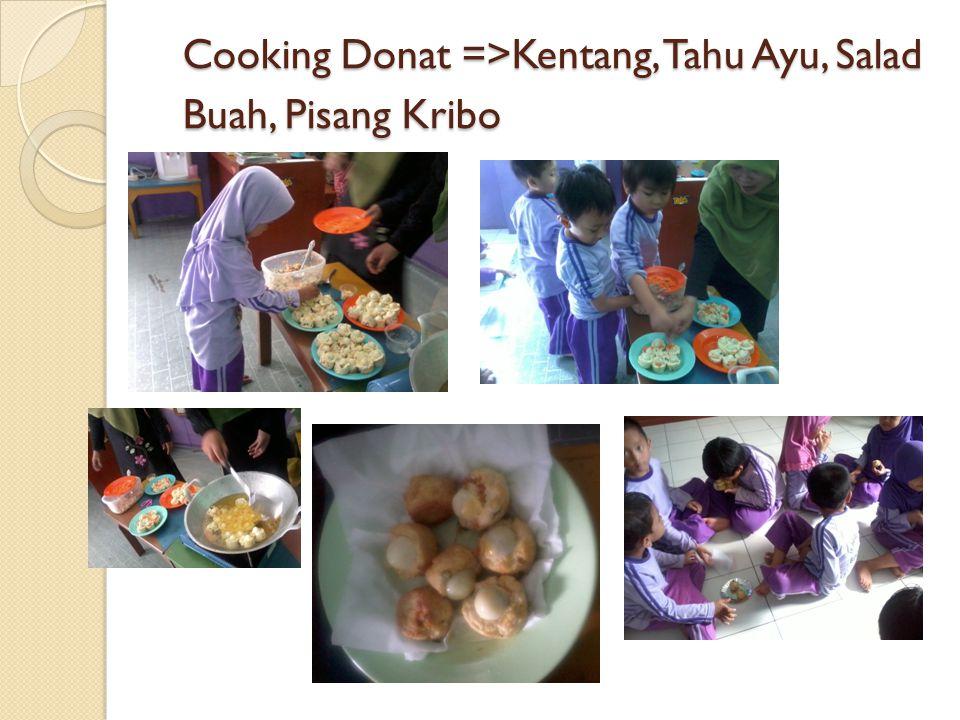Cooking Donat =>Kentang, Tahu Ayu, Salad Buah, Pisang Kribo