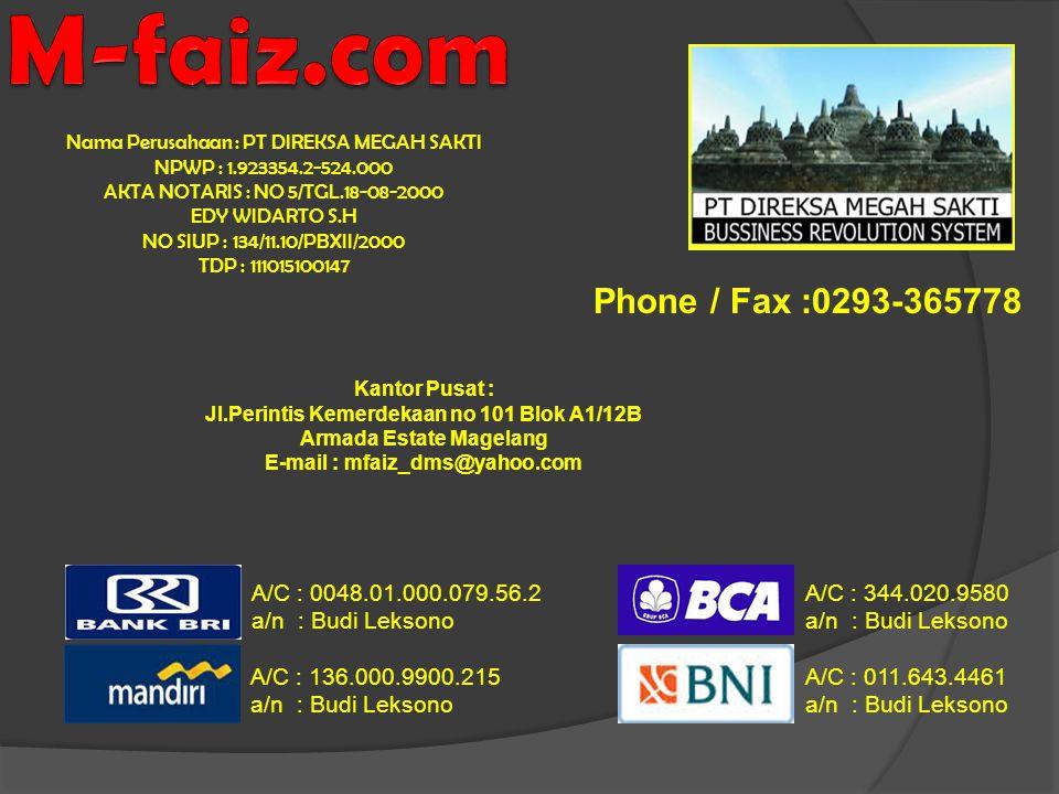 M-faiz.com Phone / Fax :0293-365778 A/C : 0048.01.000.079.56.2