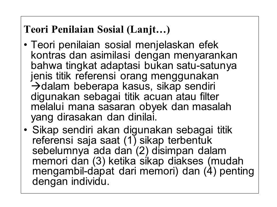 Teori Penilaian Sosial (Lanjt…)