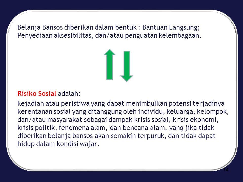 Belanja Bansos diberikan dalam bentuk : Bantuan Langsung; Penyediaan aksesibilitas, dan/atau penguatan kelembagaan.