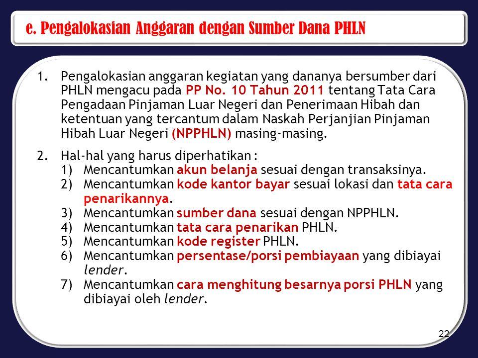 e. Pengalokasian Anggaran dengan Sumber Dana PHLN