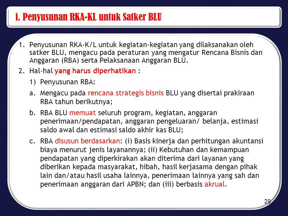 i. Penyusunan RKA-KL untuk Satker BLU