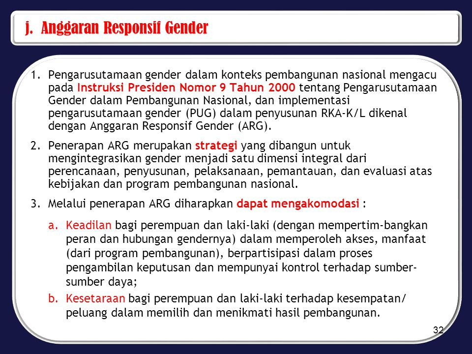 j. Anggaran Responsif Gender