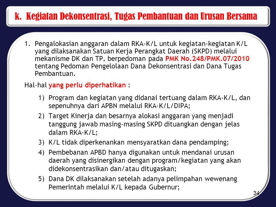 k. Kegiatan Dekonsentrasi, Tugas Pembantuan dan Urusan Bersama