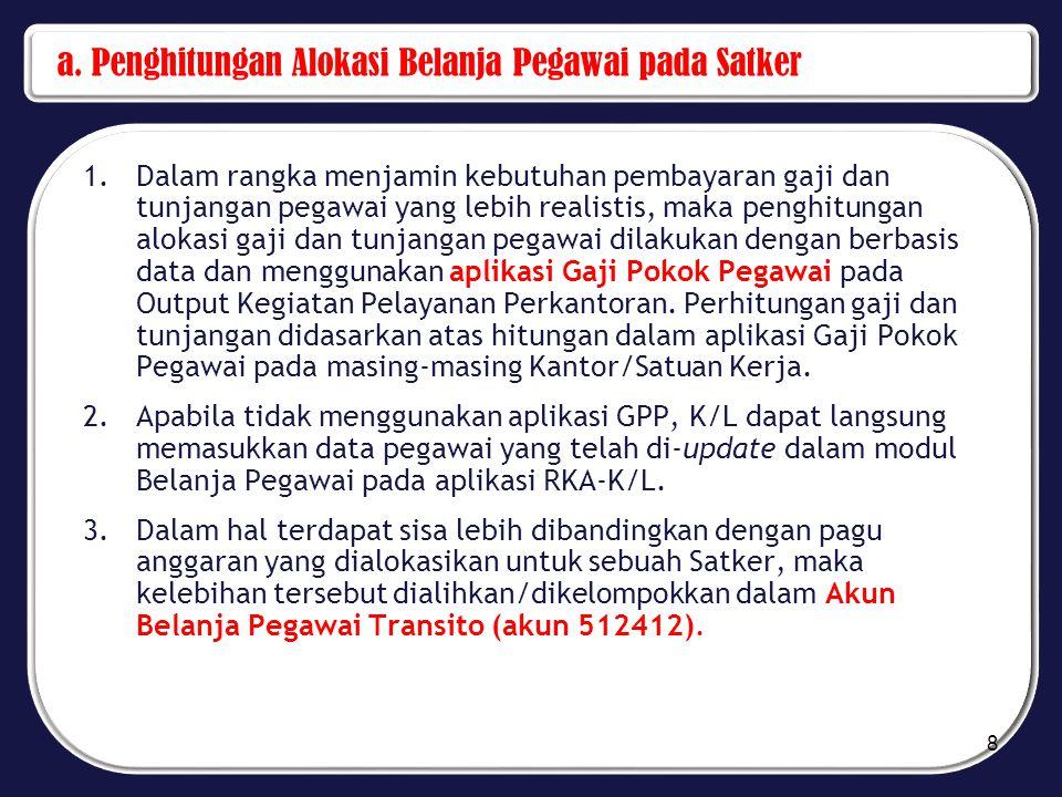 a. Penghitungan Alokasi Belanja Pegawai pada Satker