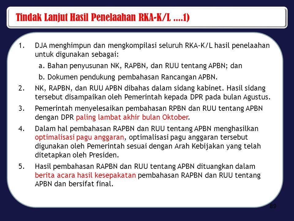 Tindak Lanjut Hasil Penelaahan RKA-K/L ....1)