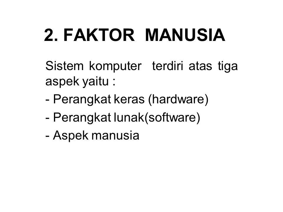 2. FAKTOR MANUSIA Sistem komputer terdiri atas tiga aspek yaitu :