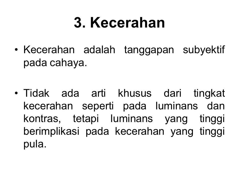 3. Kecerahan Kecerahan adalah tanggapan subyektif pada cahaya.