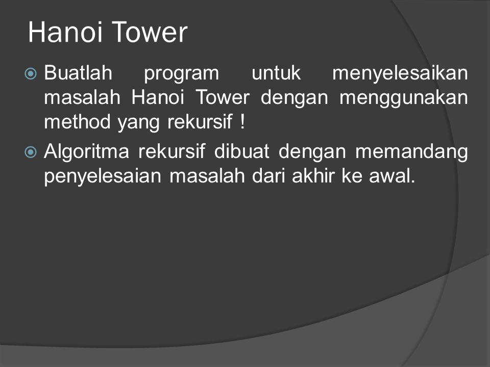 Hanoi Tower Buatlah program untuk menyelesaikan masalah Hanoi Tower dengan menggunakan method yang rekursif !