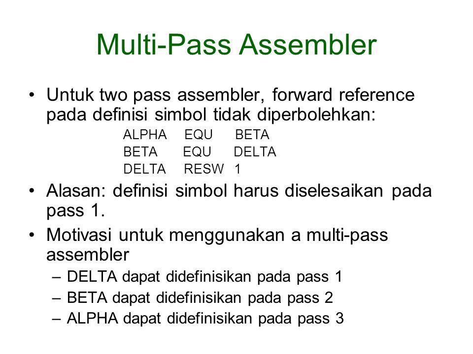 Multi-Pass Assembler Untuk two pass assembler, forward reference pada definisi simbol tidak diperbolehkan: