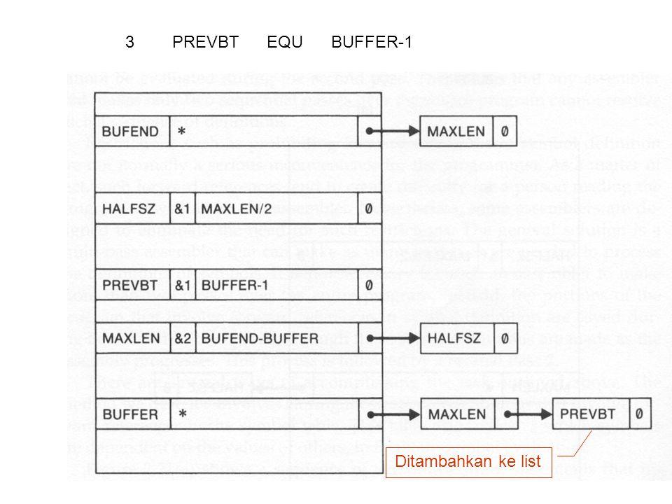 3 PREVBT EQU BUFFER-1 Ditambahkan ke list