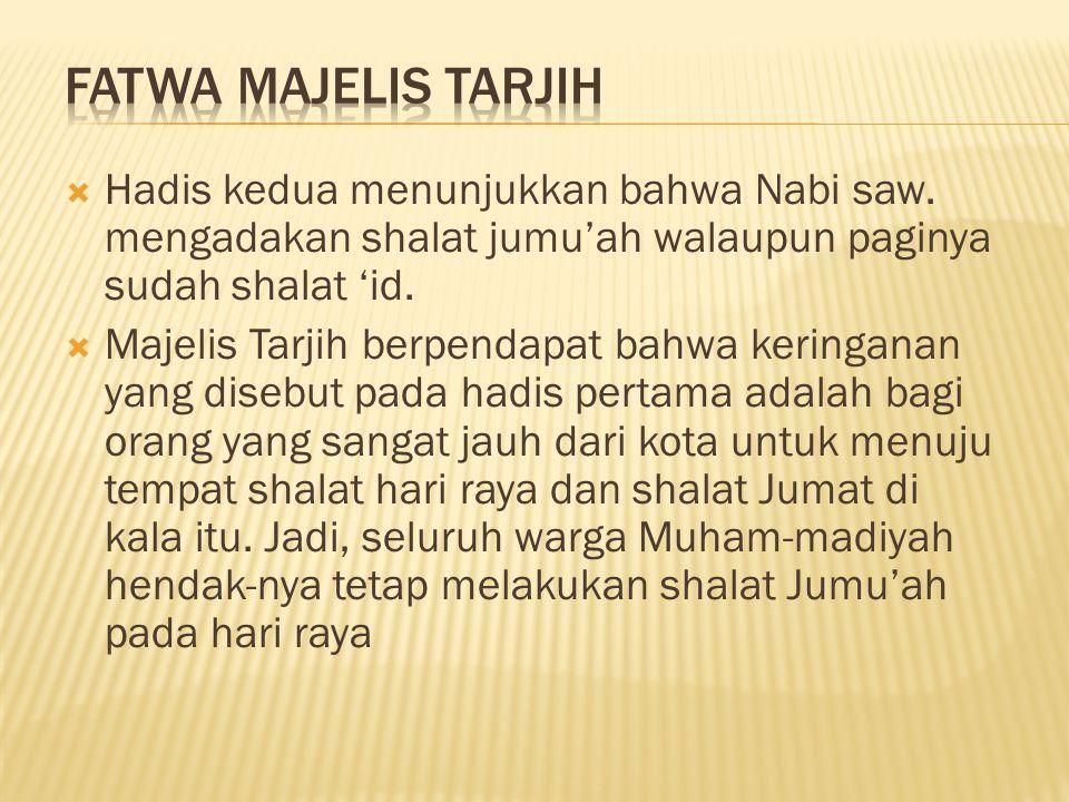 Fatwa Majelis Tarjih Hadis kedua menunjukkan bahwa Nabi saw. mengadakan shalat jumu'ah walaupun paginya sudah shalat 'id.
