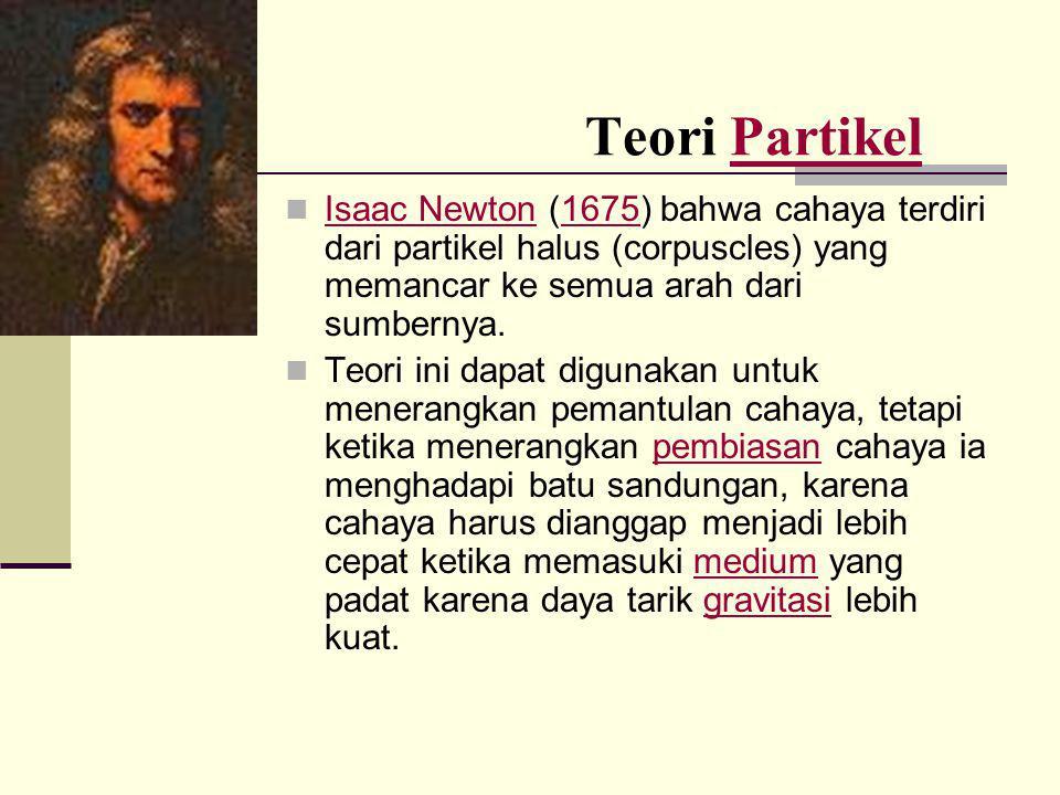 Teori Partikel Isaac Newton (1675) bahwa cahaya terdiri dari partikel halus (corpuscles) yang memancar ke semua arah dari sumbernya.