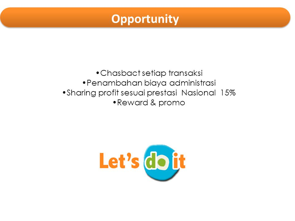 Opportunity Chasbact setiap transaksi Penambahan biaya administrasi