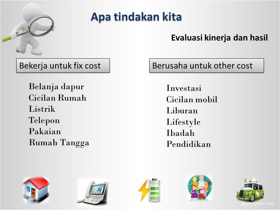 Apa tindakan kita Evaluasi kinerja dan hasil Bekerja untuk fix cost