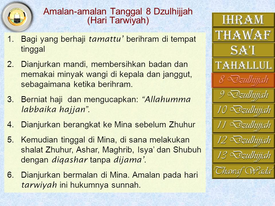 Amalan-amalan Tanggal 8 Dzulhijjah (Hari Tarwiyah)