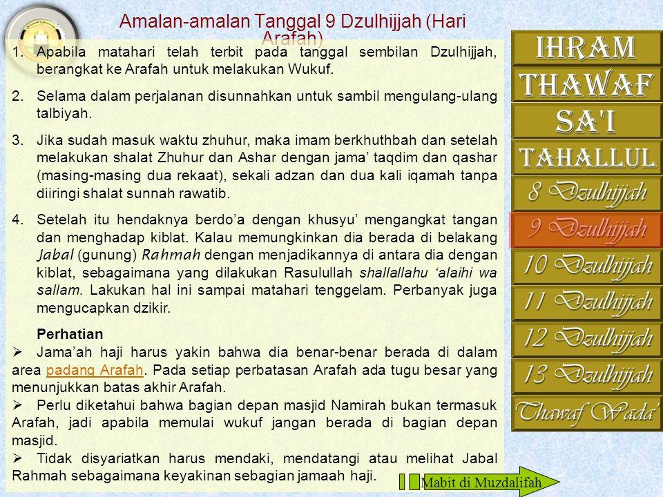 Amalan-amalan Tanggal 9 Dzulhijjah (Hari Arafah)