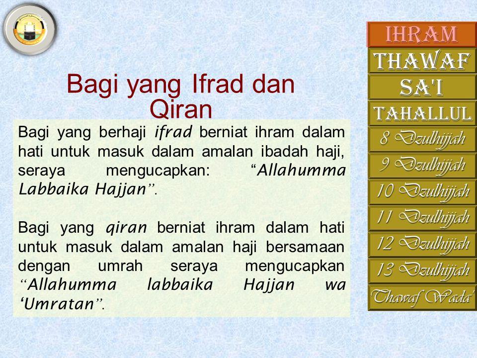 Bagi yang Ifrad dan Qiran