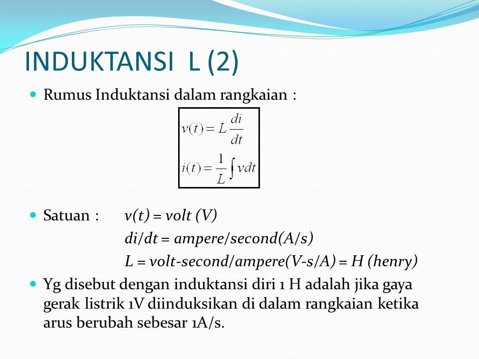 INDUKTANSI L (2) Rumus Induktansi dalam rangkaian :
