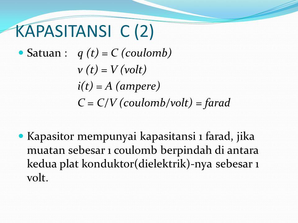 KAPASITANSI C (2) Satuan : q (t) = C (coulomb) v (t) = V (volt)