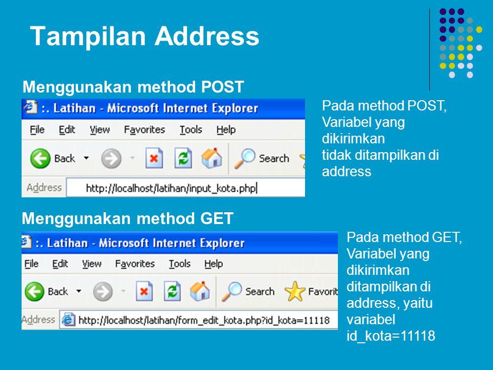 Tampilan Address Menggunakan method POST Menggunakan method GET
