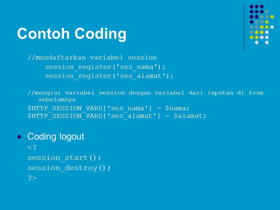 Contoh Coding Coding logout < session_start(); session_destroy();