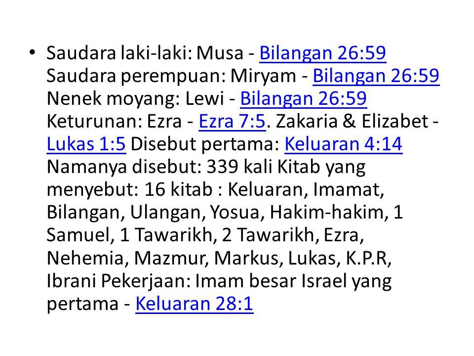 Saudara laki-laki: Musa - Bilangan 26:59 Saudara perempuan: Miryam - Bilangan 26:59 Nenek moyang: Lewi - Bilangan 26:59 Keturunan: Ezra - Ezra 7:5.