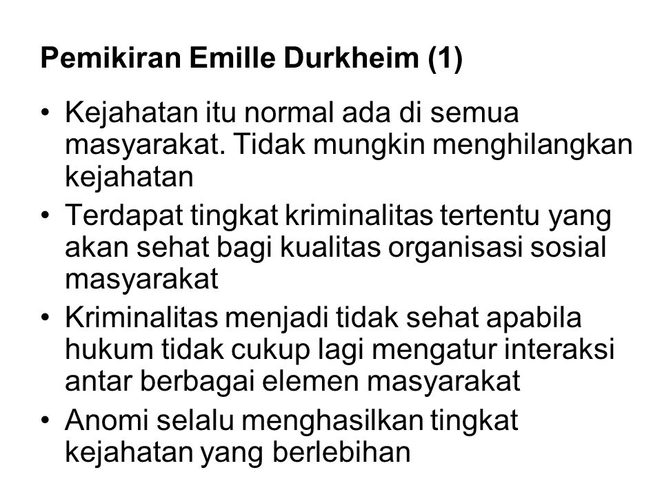 Pemikiran Emille Durkheim (1)