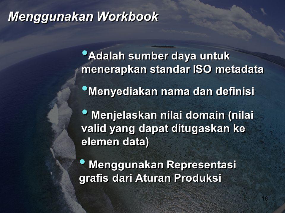 Menggunakan Workbook Adalah sumber daya untuk menerapkan standar ISO metadata. Menyediakan nama dan definisi.