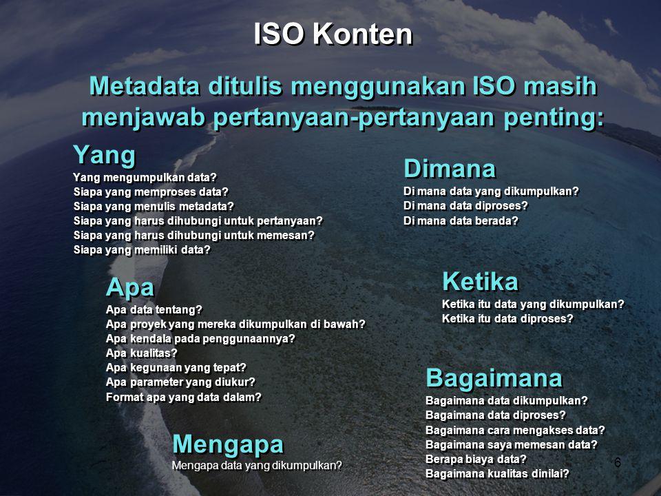 ISO Konten Metadata ditulis menggunakan ISO masih menjawab pertanyaan-pertanyaan penting: Yang. Yang mengumpulkan data
