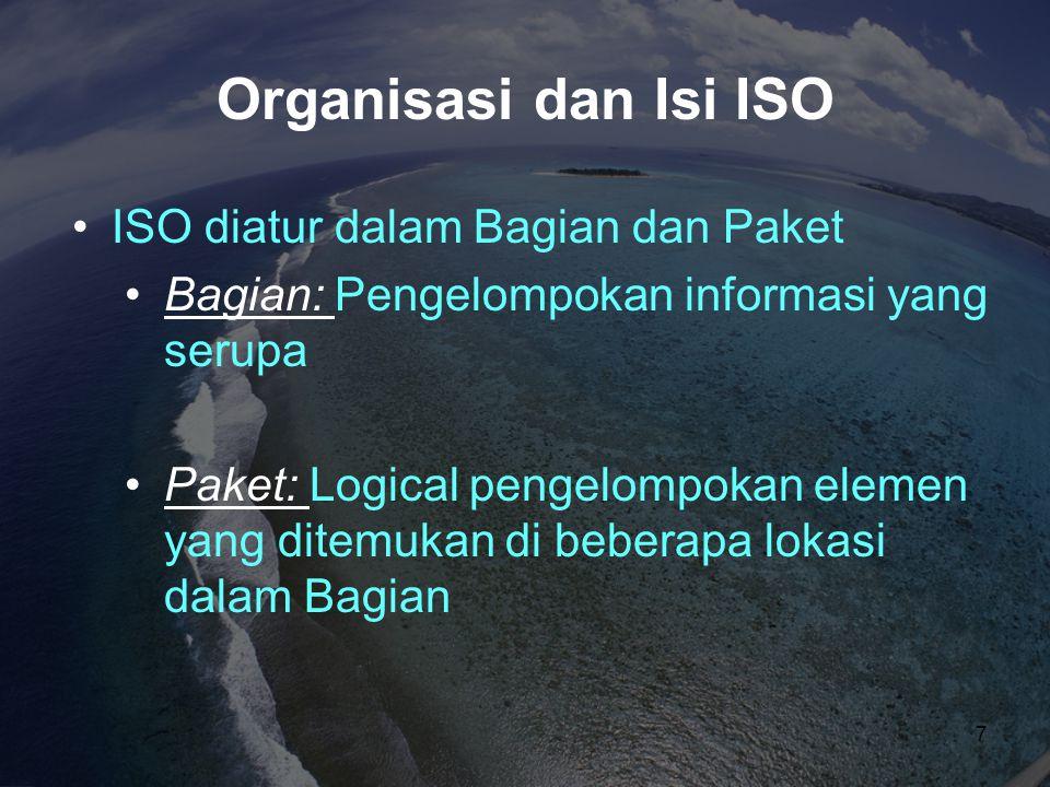 Organisasi dan Isi ISO ISO diatur dalam Bagian dan Paket