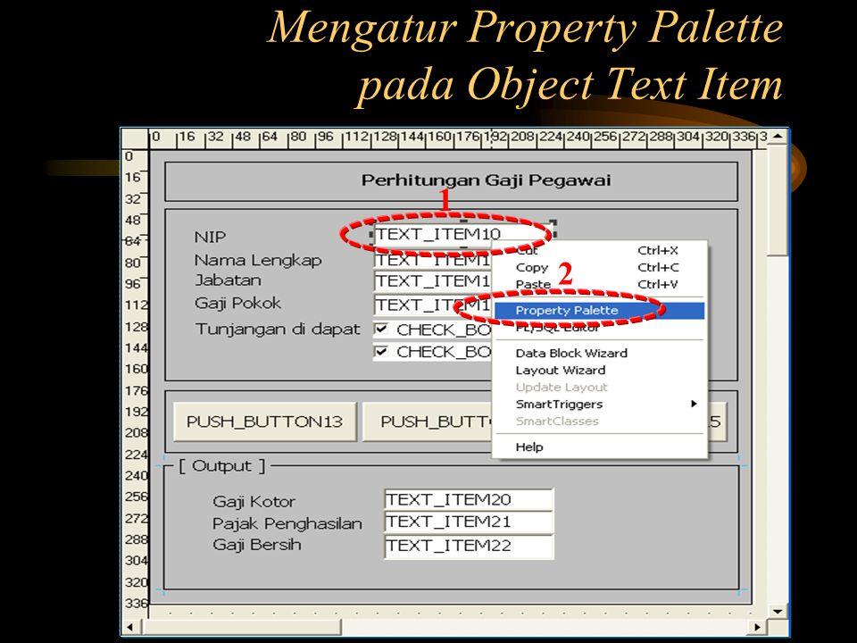 Mengatur Property Palette pada Object Text Item