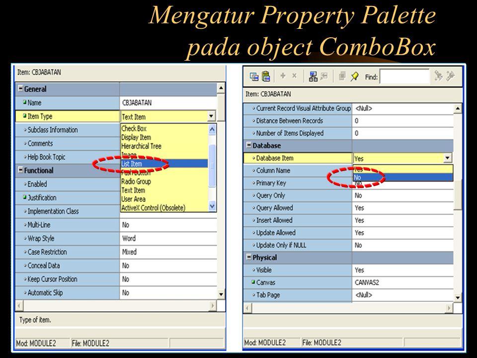 Mengatur Property Palette pada object ComboBox