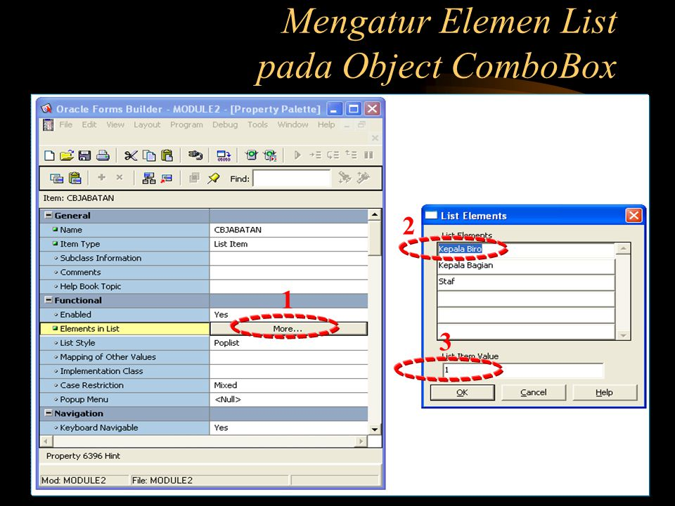 Mengatur Elemen List pada Object ComboBox
