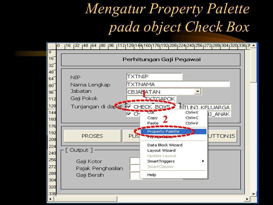 Mengatur Property Palette pada object Check Box