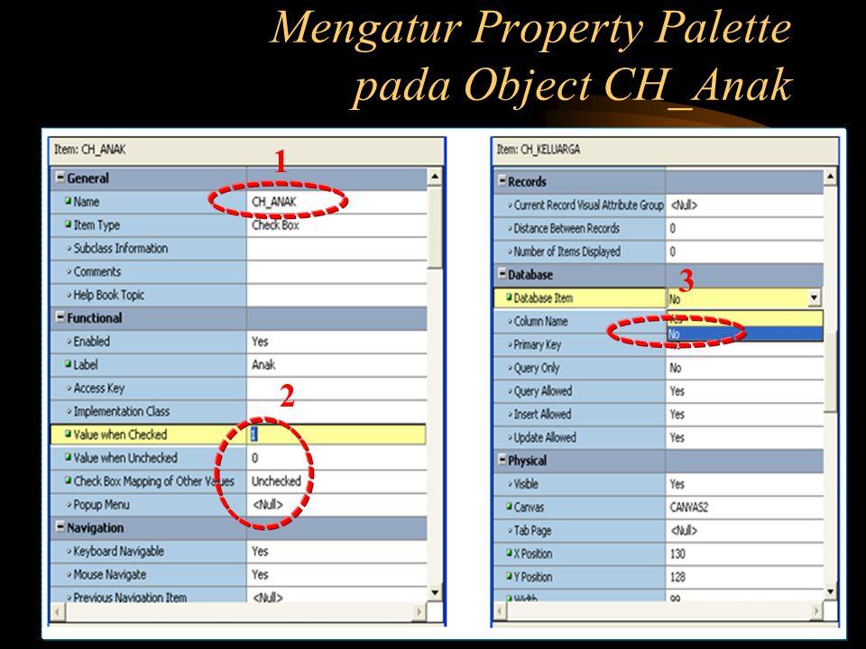 Mengatur Property Palette pada Object CH_Anak