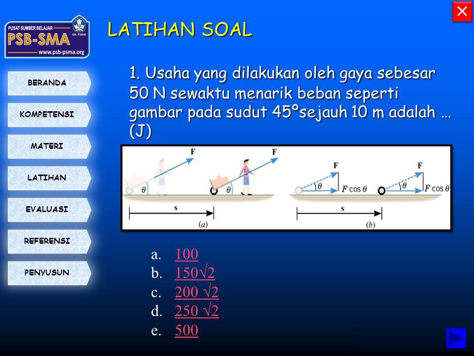 LATIHAN SOAL 1. Usaha yang dilakukan oleh gaya sebesar 50 N sewaktu menarik beban seperti gambar pada sudut 45ºsejauh 10 m adalah … (J)
