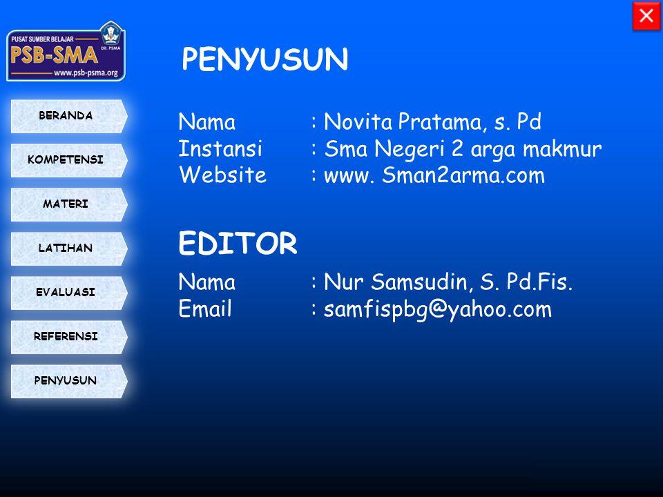 PENYUSUN EDITOR Nama : Novita Pratama, s. Pd