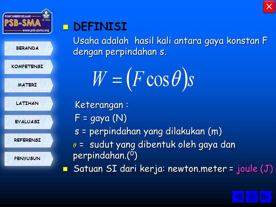 DEFINISI Usaha adalah hasil kali antara gaya konstan F dengan perpindahan s. Keterangan : F = gaya (N)