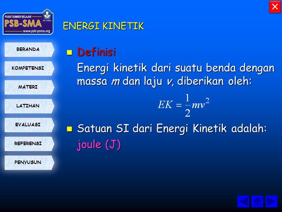 Satuan SI dari Energi Kinetik adalah: joule (J)