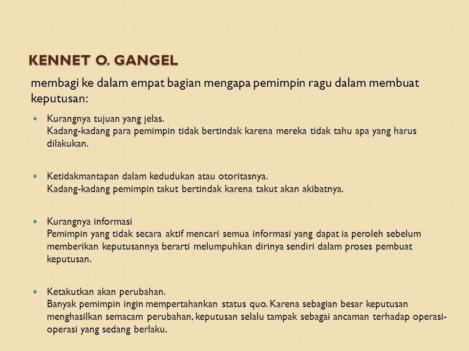 Kennet O. Gangel membagi ke dalam empat bagian mengapa pemimpin ragu dalam membuat keputusan:
