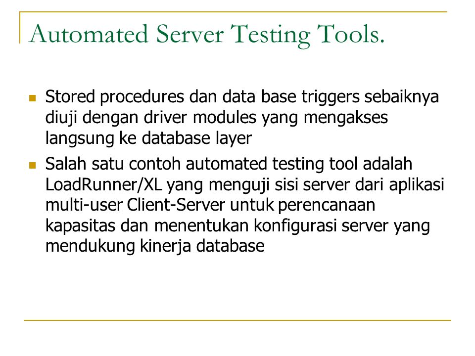 Automated Server Testing Tools.