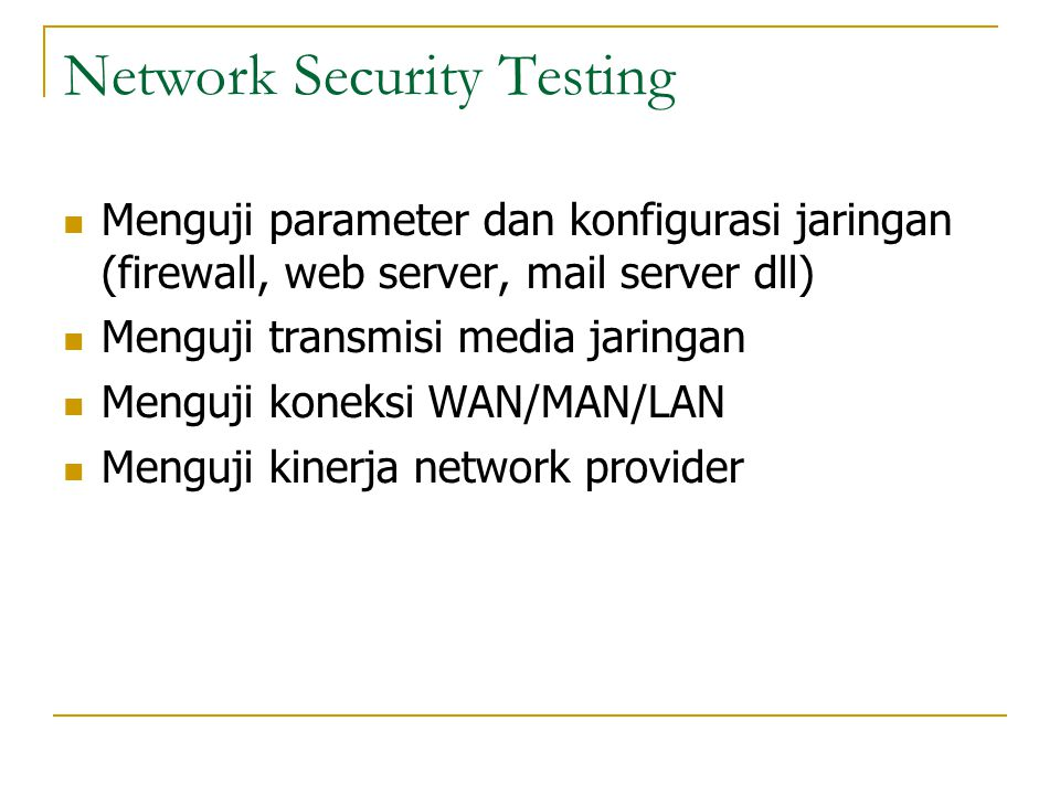 Network Security Testing